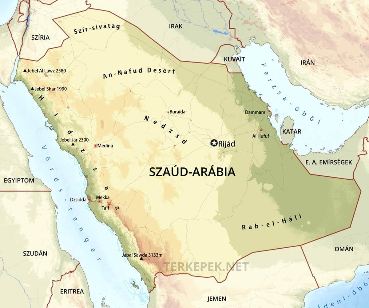 katar térkép Szaúd Arábia domborzati térképe katar térkép